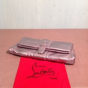 CHRISTIAN LOUBOUTIN OVERSIZE PEWTER LEATHER CLUTCH